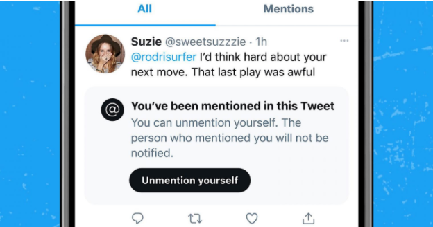 """Twitter is experimenting with an """"Unmention yourself"""" option"""
