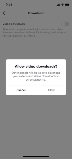 Disable download by tiktok
